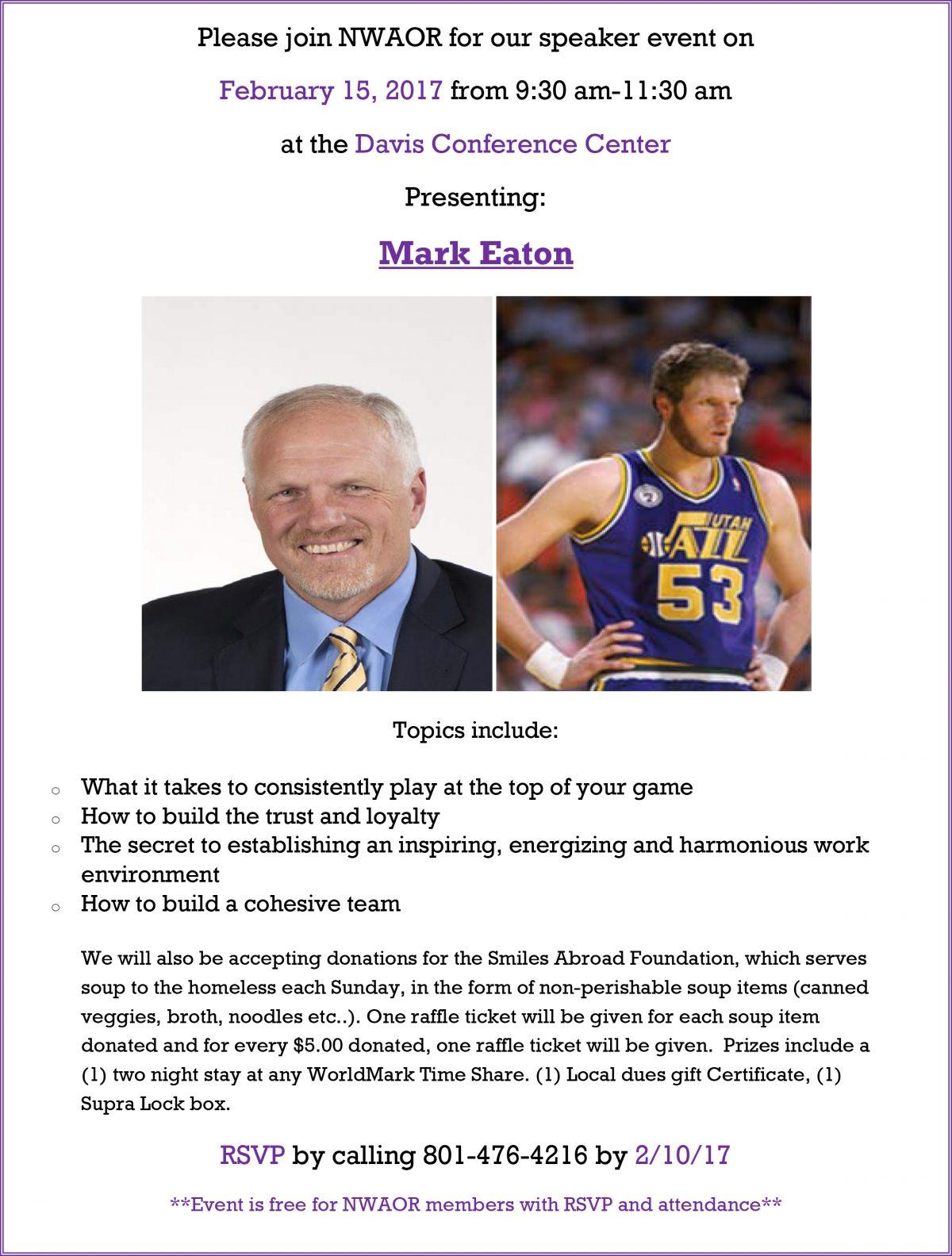 Speaker Event presenting Mark Eaton